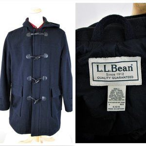 LL Bean Black Heavy Wool Toggle Zip Parka Coat L